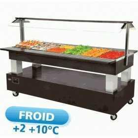 Buffet réfrigéré central mobile Salad'bar 6 bacs