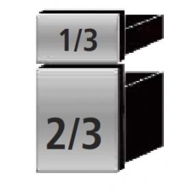 2 tiroirs 1 x 1/3 + 1 x 1/2 extractibles à la place d'une porte