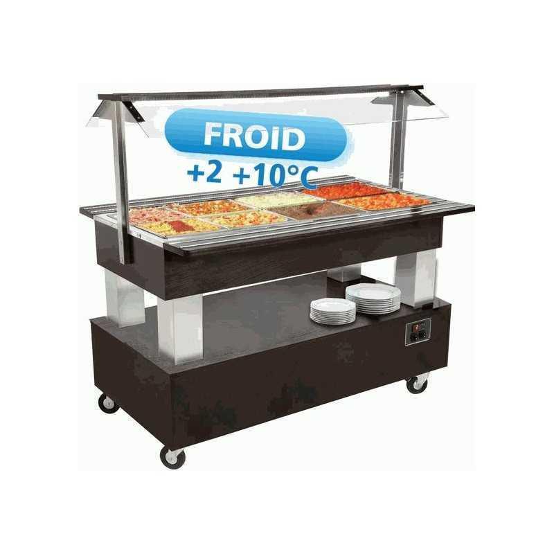 Buffet réfrigéré central mobile Salad'bar 4 bacs