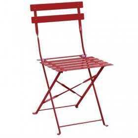 2 Chaises de terrasse en acier rouges