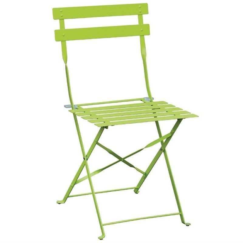 2 Chaises de terrasse en acier vertes