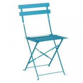 2 Chaises de terrasse en acier bleu turquoise