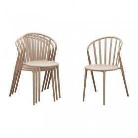 4 Chaises à barreaux en PP café