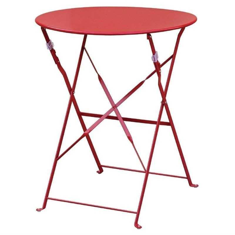 Table de terrasse en acier rouge