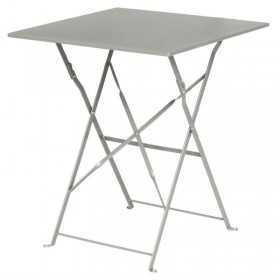 Table de terrasse carrée en acier grise 600mm