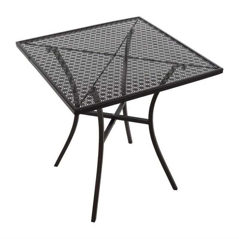 Table bistro carrée en acier ajouré noire 700mm