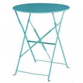 Table de terrasse ronde en acier bleu turquoise 595mm