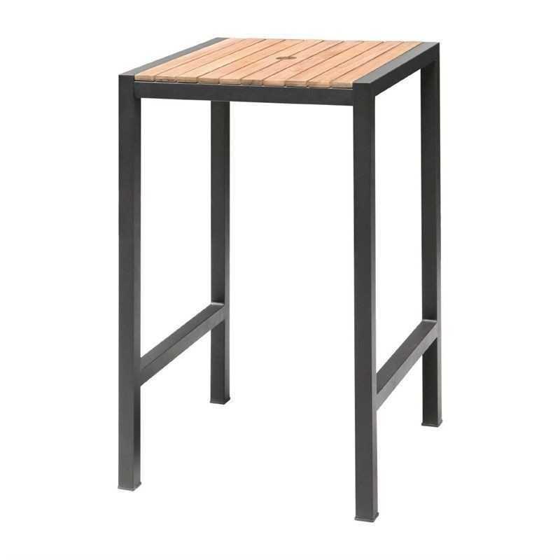 Mange-debout carré en acier et acacia 60 cm