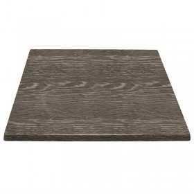 Plateau de table carré effet bois vieilli 700mm