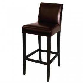 Tabouret de bar haut avec dossier en simili cuir marron foncé