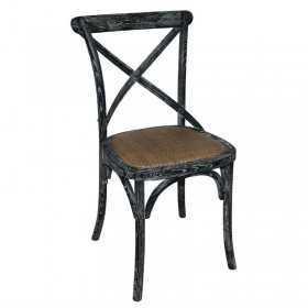 2 Chaises en bois patiné avec dossier croisé noires