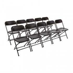 10 Chaises pliantes noires