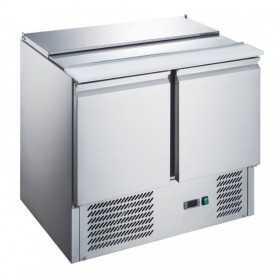 Saladette réfrigérée plan inox téléscopiques 2 portes