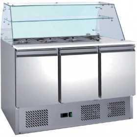 Saladetté réfrigérée avec vitre droite 2 portes GN1/1