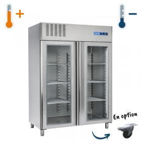 Armoire réfrigérée inox double porte vitrées 1300L GN 2/1