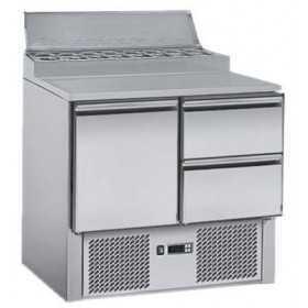 Saladette inox avec top à ingrédients et tiroirs réfrigérés