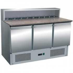 Tour à pizza réfrigéré 3 portes avec top à ingrédients plan en granit