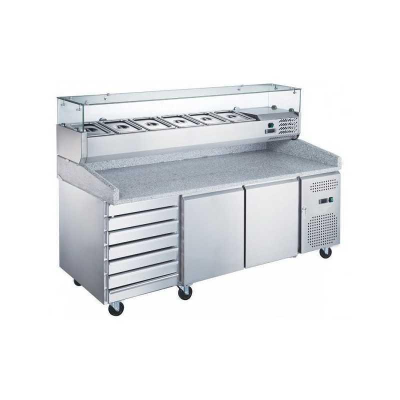 Table pizza réfrigérée + kit réfrigéré 2 portes 7 tiroirs