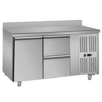 Table réfrigérée positive centrale ou adossée 1 porte 2 tiroirs GN 1/1