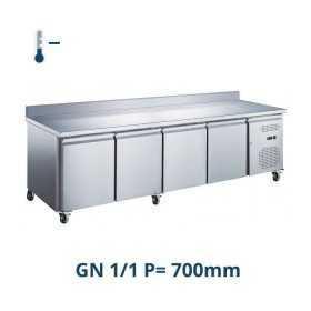 Table desserte négative adossée 4 portes GN 1/1