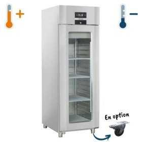 Armoire réfrigérée 650L inox porte vitrée GN 2/1