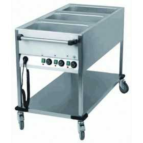 CHARIOT BAIN-MARIE MOBILE 3 CUVES GN 1/1